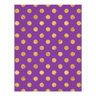 Elegant Gold Foil Polka Dot Pattern - Purple Letterhead