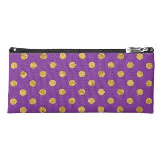 Elegant Gold Foil Polka Dot Pattern - Purple Pencil Case