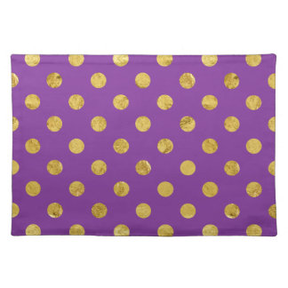 Elegant Gold Foil Polka Dot Pattern - Purple Placemats