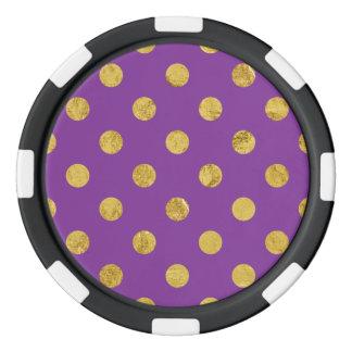 Elegant Gold Foil Polka Dot Pattern - Purple Poker Chips
