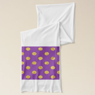 Elegant Gold Foil Polka Dot Pattern - Purple Scarf
