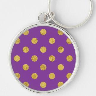 Elegant Gold Foil Polka Dot Pattern - Purple Silver-Colored Round Keychain