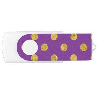 Elegant Gold Foil Polka Dot Pattern - Purple Swivel USB 2.0 Flash Drive
