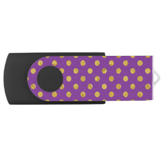 Elegant Gold Foil Polka Dot Pattern - Purple Swivel USB 3.0 Flash Drive