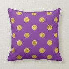 Elegant Gold Foil Polka Dot Pattern - Purple Throw Pillow