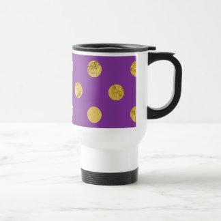 Elegant Gold Foil Polka Dot Pattern - Purple Travel Mug