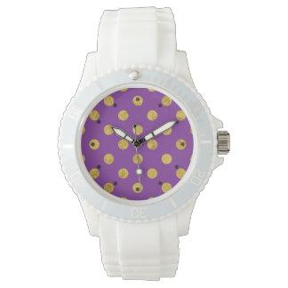 Elegant Gold Foil Polka Dot Pattern - Purple Watch