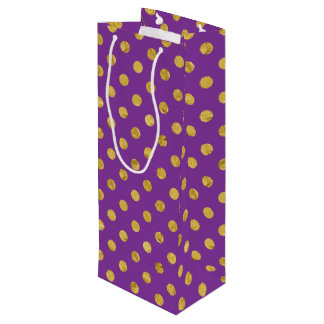 Elegant Gold Foil Polka Dot Pattern - Purple Wine Gift Bag