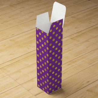 Elegant Gold Foil Polka Dot Pattern - Purple Wine Gift Box