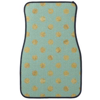Elegant Gold Foil Polka Dot Pattern - Teal Gold Auto Mat