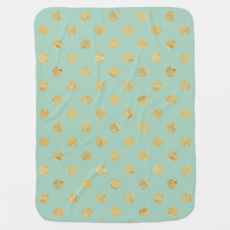 Elegant Gold Foil Polka Dot Pattern - Teal Gold Baby Blanket