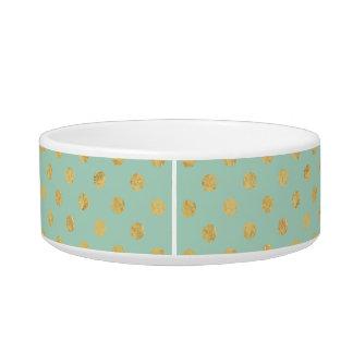 Elegant Gold Foil Polka Dot Pattern - Teal Gold Bowl