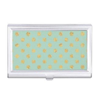 Elegant Gold Foil Polka Dot Pattern - Teal Gold Business Card Holder