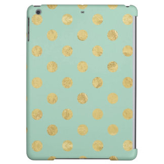 Elegant Gold Foil Polka Dot Pattern - Teal Gold Cover For iPad Air