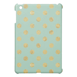 Elegant Gold Foil Polka Dot Pattern - Teal Gold Cover For The iPad Mini