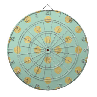 Elegant Gold Foil Polka Dot Pattern - Teal Gold Dartboard
