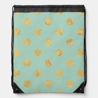 Elegant Gold Foil Polka Dot Pattern - Teal Gold Drawstring Bag