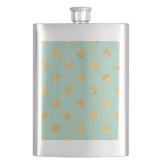 Elegant Gold Foil Polka Dot Pattern - Teal Gold Flask
