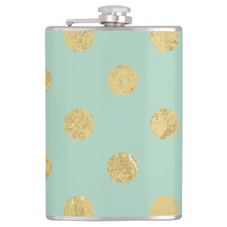 Elegant Gold Foil Polka Dot Pattern - Teal Gold Hip Flask