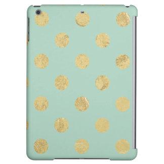 Elegant Gold Foil Polka Dot Pattern - Teal Gold iPad Air Cases