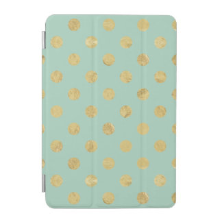 Elegant Gold Foil Polka Dot Pattern - Teal Gold iPad Mini Cover