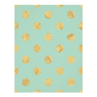 Elegant Gold Foil Polka Dot Pattern - Teal Gold Letterhead