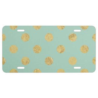 Elegant Gold Foil Polka Dot Pattern - Teal Gold License Plate