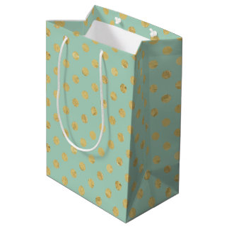 Elegant Gold Foil Polka Dot Pattern - Teal Gold Medium Gift Bag
