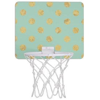 Elegant Gold Foil Polka Dot Pattern - Teal Gold Mini Basketball Hoop