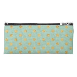 Elegant Gold Foil Polka Dot Pattern - Teal Gold Pencil Case