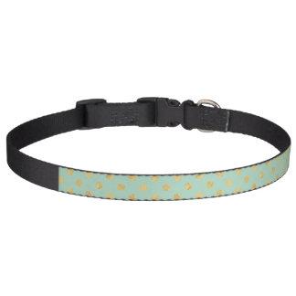 Elegant Gold Foil Polka Dot Pattern - Teal Gold Pet Collar