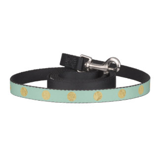 Elegant Gold Foil Polka Dot Pattern - Teal Gold Pet Leash