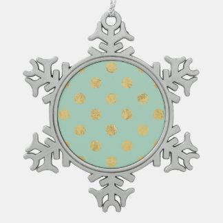 Elegant Gold Foil Polka Dot Pattern - Teal Gold Pewter Snowflake Ornament