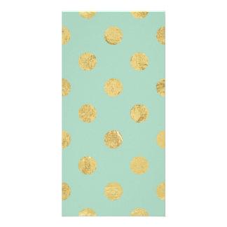 Elegant Gold Foil Polka Dot Pattern - Teal Gold Photo Card Template