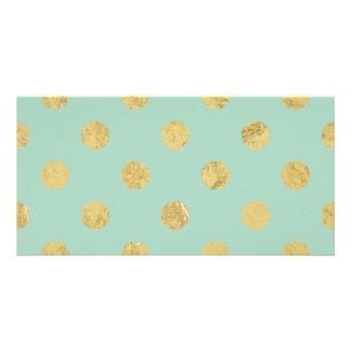 Elegant Gold Foil Polka Dot Pattern - Teal Gold Picture Card