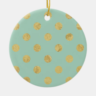 Elegant Gold Foil Polka Dot Pattern - Teal Gold Round Ceramic Ornament