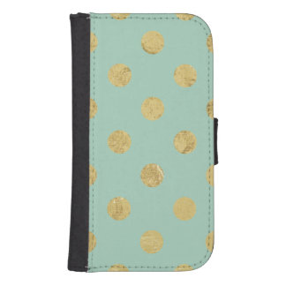 Elegant Gold Foil Polka Dot Pattern - Teal Gold Samsung S4 Wallet Case