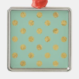 Elegant Gold Foil Polka Dot Pattern - Teal Gold Silver-Colored Square Ornament