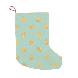 Elegant Gold Foil Polka Dot Pattern - Teal Gold Small Christmas Stocking