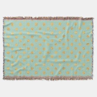 Elegant Gold Foil Polka Dot Pattern - Teal Gold Throw Blanket