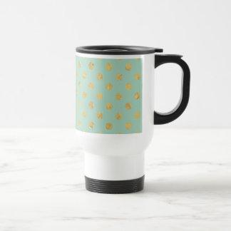 Elegant Gold Foil Polka Dot Pattern - Teal Gold Travel Mug