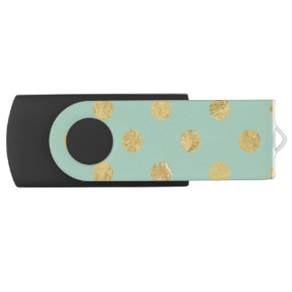 Elegant Gold Foil Polka Dot Pattern - Teal Gold USB Flash Drive