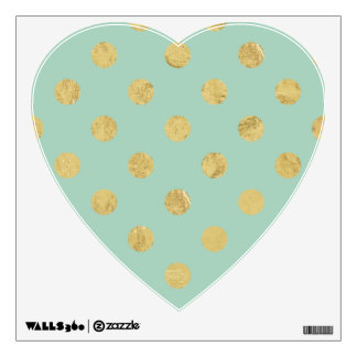 Elegant Gold Foil Polka Dot Pattern - Teal Gold Wall Decal