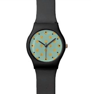 Elegant Gold Foil Polka Dot Pattern - Teal Gold Watch