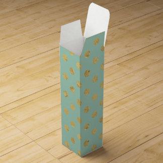 Elegant Gold Foil Polka Dot Pattern - Teal Gold Wine Gift Box