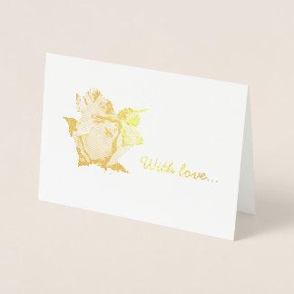 Elegant gold foil rosebud and with love message foil card