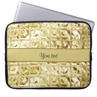 Elegant Gold Foil Squares Laptop Sleeves