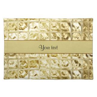Elegant Gold Foil Squares Place Mat