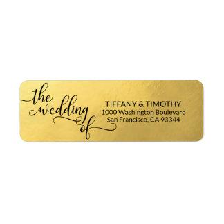 Elegant Gold Foil THE WEDDING OF Return Address