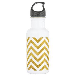 Elegant Gold Foil Zigzag Stripes Chevron Pattern 532 Ml Water Bottle